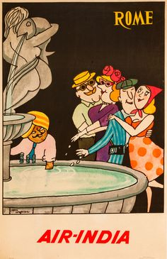 Vintage Travel Poster for Air-India to Rome, Italy. Fountain Poster.