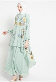 Wanita Baju Muslim Dress Muslim Gamis Gamis Bordir Kamilaa