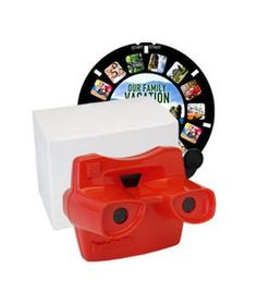 An old-school toy gets a modern transformation. Build your own reel by customizing with seven of your favorite photos and 3D captions to go along with each. Imagine his surprise when he starts clicking and seeing photos that include him (and not the Disney princesses). Viewer available in four colors.