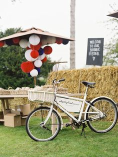 We love this idea of adding a red, white and blue touch with paper globes under an umbrella!