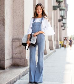 celebinspire: Aimee Song (Riches for Rags) - Total Street Style Looks And Fashion Outfit Ideas Overalls Outfit, Denim Overalls, Dungarees, Retro Outfits, Song Of Style, My Style, Estilo Jeans, Foto Fashion, Denim Flares