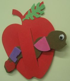 Apple Magnet (10/17/13 & 10/18/13): Cut two slits in a foam or paper apple cut-out. Decorate a foam or paper worm cut-out as desired, and slide it through the slits. Decorate the apple anyway you like, and glue a magnet to either side of the apple's back. Enjoy!