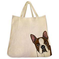 Brown Boston Terrier Tote Bag