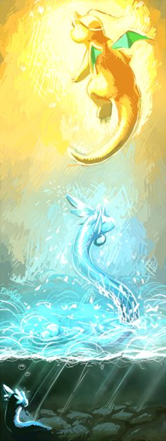 Dratini, Dragonair, Dragonite #pokemon #nintendo