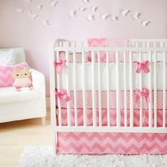 Pink Chevron Crib Bedding - Contemporary - nursery - New Arrivals Inc
