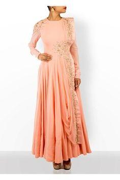 Anarkali, Baby pink thread work attached drape anarkali set