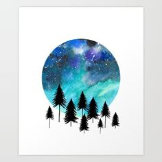 Northern lights watercolor illustration. Nature lovers. Star filled sky. Aurora Borealis