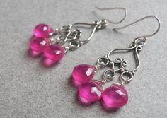 Hot Pink Earrings Pink Chalcedony earrings by SueanneShirzay