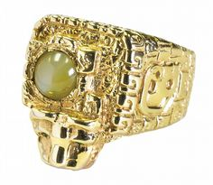 Aztec Ring with Jaguar Head