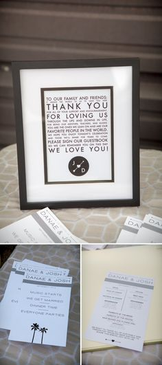 Custom wedding stationary and signs designed by the bride and groom! Image: Taylored Photo Memories