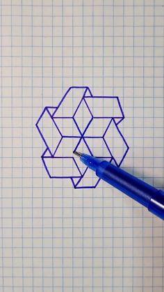 Graph Paper Drawings, Easy Doodles Drawings, Graph Paper Art, Art Drawings For Kids, Art Drawings Sketches Simple, Pencil Art Drawings, Instruções Origami, 3d Art Drawing, Doodle Art Designs