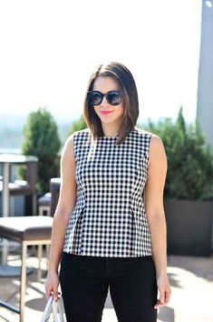 Asos Petite Sleeveless Peplum Top In Gingham « voguee. Frock Fashion, Fashion Outfits, Kurti Sleeves Design, Blouse Designs, Casual Outfits, Clothes For Women, Asos Petite, Tops, Clothing