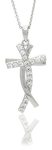 Sterling Silver Rhodium Plated Cubic Zirconia Pave Interlocked Religious Cross Pendant Necklace 18 ** You can get more details by clicking on the image.(This is an Amazon affiliate link and I receive a commission for the sales) #Necklaces