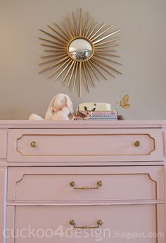 Pink and Gold Chalk Paint Dresser :http://www.cuckoo4design.com/2013/06/pink-and-gold-chalk-paint-dresser.html