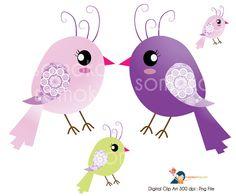 Vingtage Bird Set, Clip Art for Cards, Scrapbooking and Paper Crafts
