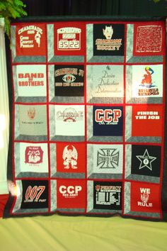 t-shirt quilt... i am doing this with all kf my high school t shirts that i won't wear but i don't want to throw out :)