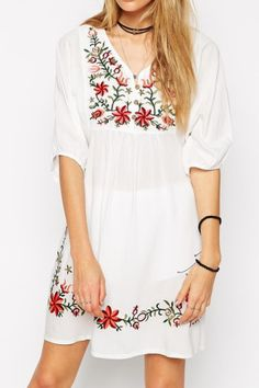 White Embroidered Floral Loose Dress