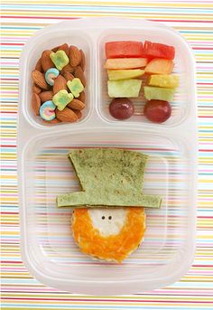 Leprechaun Sandwich Snack  How cute is this St. Patrick's Day Lunch? About as cute as it is easy to make!  Click for the recipe from Lisa Storms.