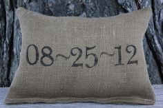 Wedding Date Pillow Personalized Pillow  Burlap by JadieCakes, $22.00    For the couches and outdoor patio futniture