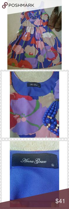 """*Anna Grace Empire Waist Dress* *Excellent Condition!! Bold colors. Empire waist. Fits closer to Medium.Lined. Length: 35"""". 100% Polyester.Ask any questions. Happy Poshing!!* Anna Grace Dresses Midi"""
