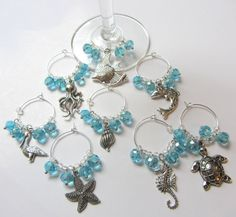 Beach Decor Sea Life Wine Charms  Set of 8 by CereusArt on Etsy, $18.00