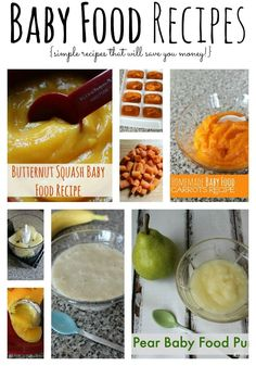 Make homemade baby food for your child with these baby food recipes. Try our baby food recipes for sweet potatoes, squash, bananas, pears and carrots. save money on babies, #SaveMoney #Money