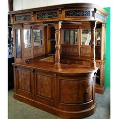 Solid Mahogany English Corner Canopy Pub Bar W/ Stained Glass