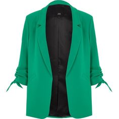River Island Green ruched sleeve blazer ($120) ❤ liked on Polyvore featuring outerwear, jackets, blazers, coats / jackets, green, women, tall jackets, ruched sleeve blazer, 3/4 sleeve jacket and crepe jacket