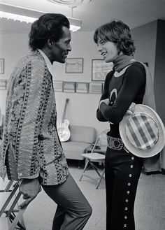 """CHUCK BERRY talking with MICK JAGGER, '69 ✰ Quote: """"If you tried to give Rock & Roll another name, you might call it 'Chuck Berry'."""" - John Lennon"""