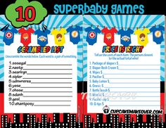Superbaby on the way? Throw a superhero baby shower that really packs a punch! Complete your party with a bundle ofsuperhero one piece themed baby shower games that are fun for everyone. DIY printable games. #cupcakemakeover