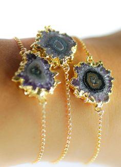 Nalani bracelet - gold druzy bracelet, gold amethyst stalactite bracelet by kealohajewelry https://www.etsy.com/listing/167844247 http://instagram.com/kealohajewelry