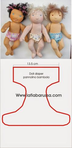 Bambole waldorf di stoffa - waldorf dolls : free pattern for doll diaper