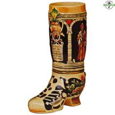 German Beer Stein - Beer Boot in Ivory & Cobalt 2L