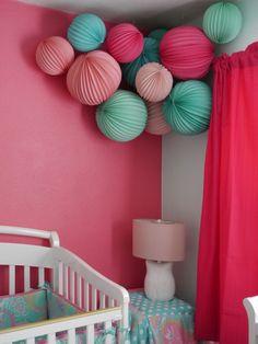 Martha Stewart pink and teal paper lanterns for a girl modern nursery from Livethefancylife.com