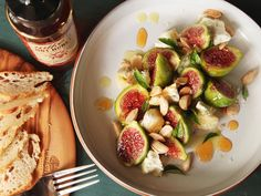 There's not really much to this simple but excellent dish: perfect figs, a little salty aged goat cheese for contrast, some Marcona almonds for crunch, and a drizzle of Mike's Hot Honey. A little olive oil and salt and a few random herbs from the garden finish it off.