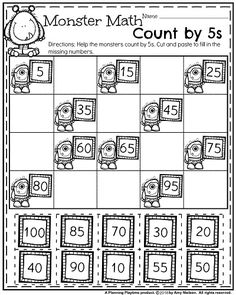 First Grade Math Worksheet for October - Monster Math Count by 5s