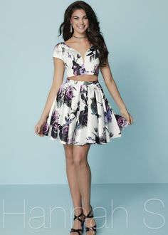 Fashion Short Two Piece Deep V Neck Pleated Floral Printed Homecoming Dress