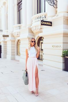 justthedesign:  Janni Deler is wearing a pastel pink Make Way pleated maxi skirt with a high slit