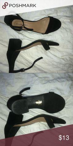 BLACK ANKLE STRAP SANDAL HEELS worn once or twice, adorable medium heeled ankle strap sandals! Shoes Heels