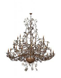 Grote hanglamp kroonluchter grijs, wit, beige, roest, zwart of goud voor 40 kaarslampen 2,5m diameter