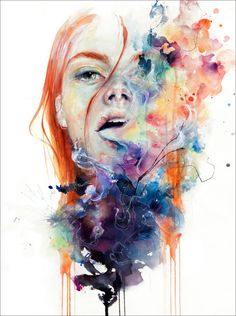 """""""this thing called art is really dangerous"""", a watercolor by Silvia Pelissero, aka agnes-cecile, an Italian self-taught artist who paints abstract figurative portrait paintings Art Watercolor, Watercolor Portraits, Abstract Portrait, Watercolor Journal, Watercolor Tattoos, Agnes Cecile, Desenho Tattoo, Call Art, Inspiration Art"""