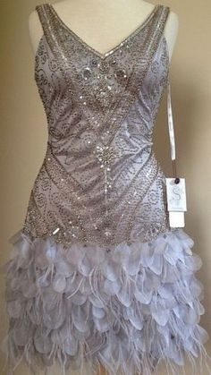 Sue Wong 1920's Gatsby Platinum Beaded Sequin Feather Evening Party Dress I would SO love to make this dress and do all the beading myself. It would be a huge cost savings!