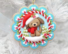 Resultado de imagen para my joyful moments handcrafted clay ornaments Polymer Clay Ornaments, Cute Polymer Clay, Dog Ornaments, Cute Clay, Polymer Clay Charms, Polymer Clay Projects, Polymer Clay Creations, How To Make Ornaments, Clay Crafts