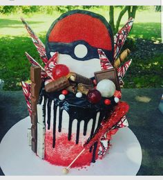 Pokémon Drip Cake Also known as a Loaded Cake Made by Delilah M.