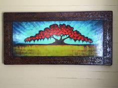 Faux Framed Red Oak Tree Art 24x48 by Derek by Patterson Tree Paintings