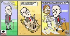 """Cartoon of Ron Paul """"saving us from our monetary sins."""" The context suggests it's mocking, but I don't see it. Art by SooperMexican."""