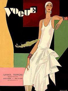 Vogue 1929. Love the Art Deco script.