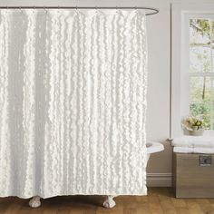 Ruffled White Shower Curtain.