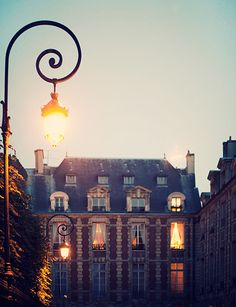 Dusk at Place des Vosges, La Marais, Paris, France