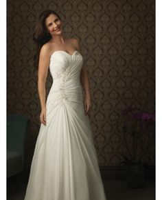 Appliques A-line Ruched Sweetheart Wedding Dress #weddingdress